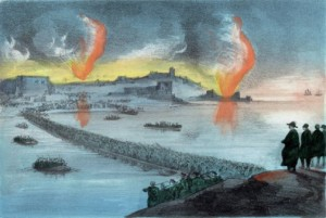 Russians abandoning port of Sebastapol during the Crimean War
